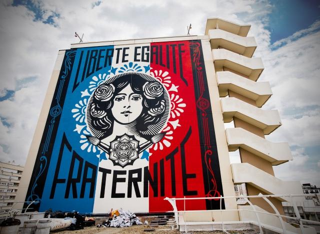 Shepard Fairey, Liberte Street-Art Mural in Paris