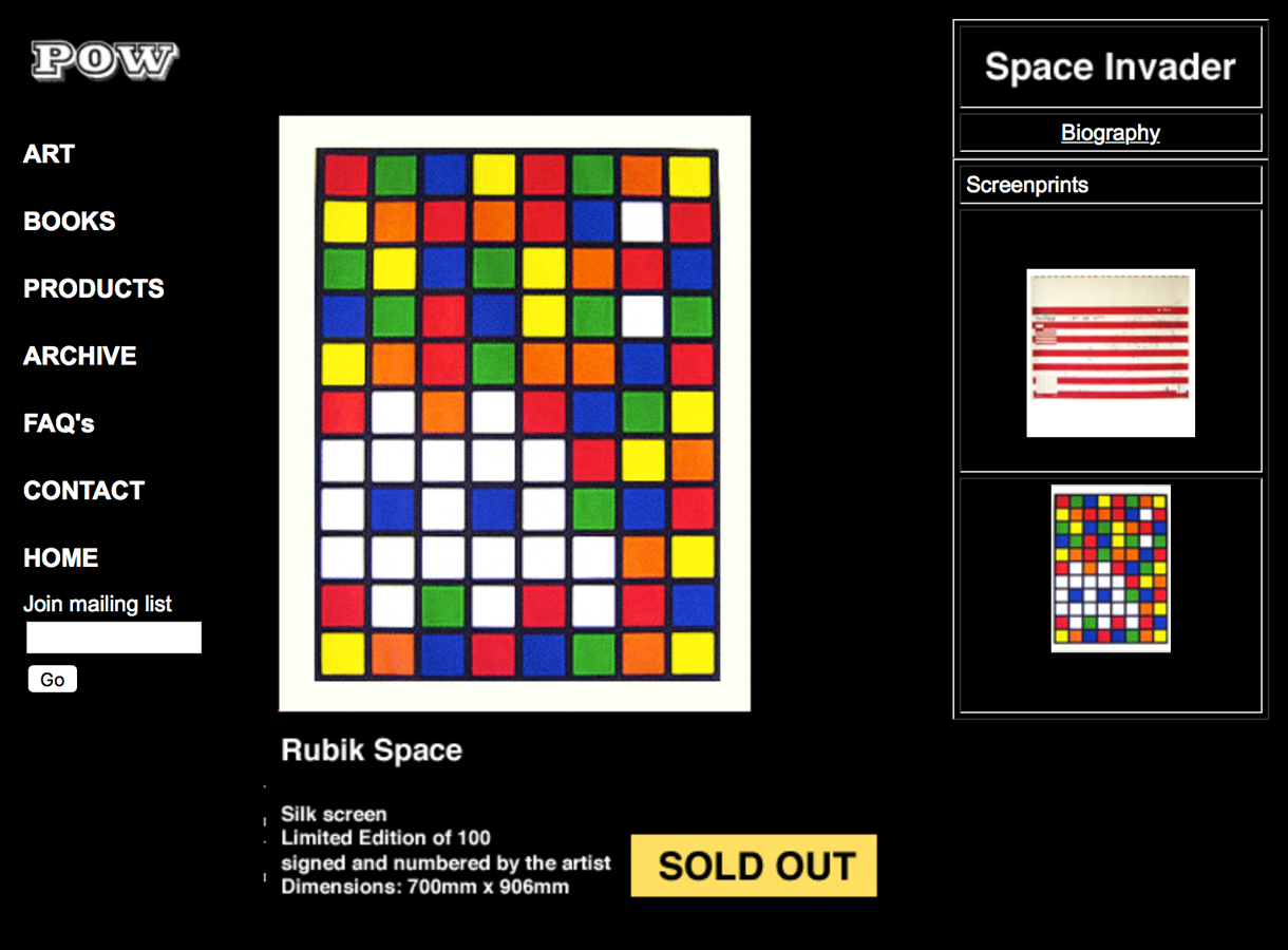 Space Invader signed Print for Sale POW