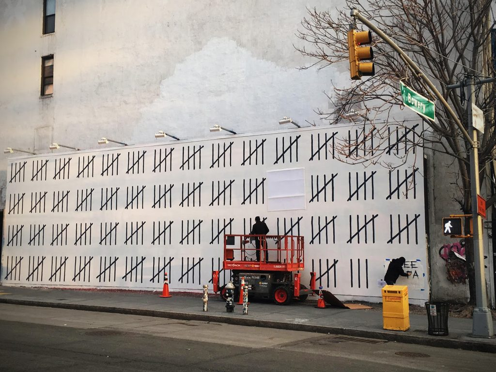 "Banksy feat. Borf - Free Zehra Doğan - ""Houston Bowery Wall"" New York"